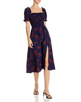 AQUA - Smocked Floral-Print Midi Dress - 100% Exclusive