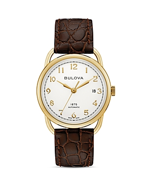 Commodore Brown Alligator-Embossed Leather Strap Watch
