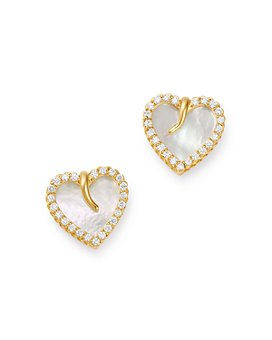 Roberto Coin - 18K Yellow Gold Mother-of-Pearl & Diamond Heart Stud Earrings - 100% Exclusive