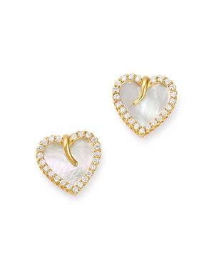 Roberto Coin 18K Yellow Gold Mother-of-Pearl & Diamond Heart Stud Earrings - 100% Exclusive-Jewelry & Accessories