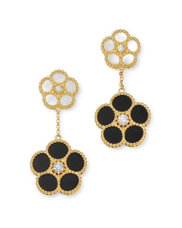 Roberto Coin - 18K Yellow Gold Mixed Daisy Mother-of-Pearl, Onyx & Diamond Flower Drop Earrings - 100% Exclusive