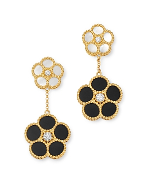 Roberto Coin 18K Yellow Gold Mixed Daisy Mother-of-Pearl, Onyx & Diamond Flower Drop Earrings - 100% Exclusive-Jewelry & Accessories