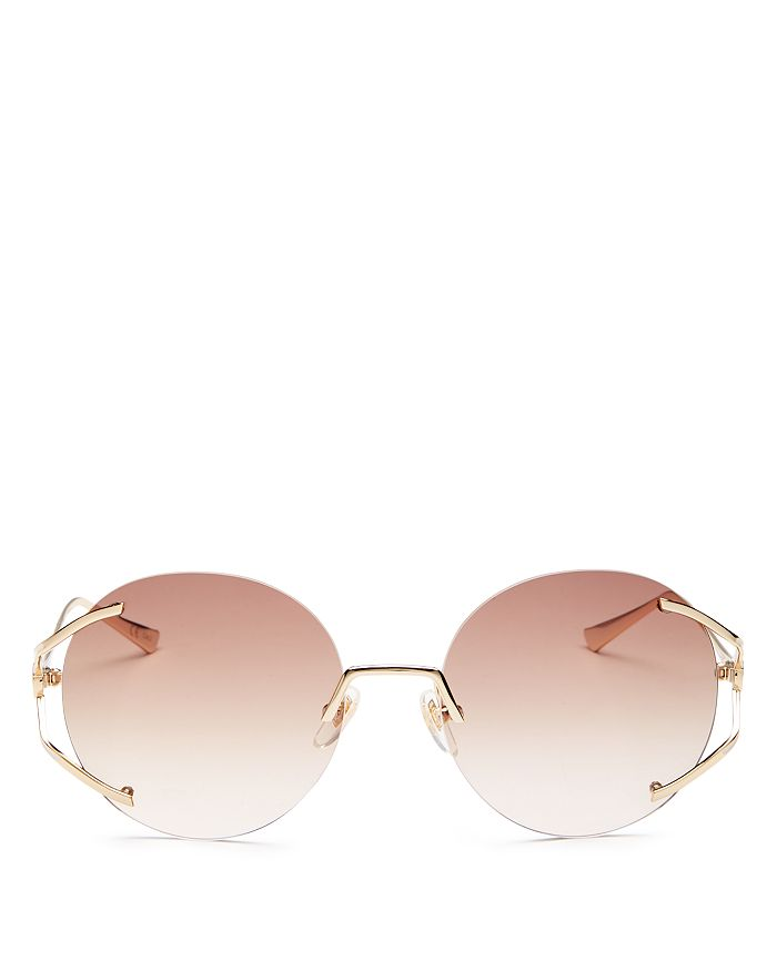 Gucci - Women's Round Rimless Sunglasses, 57mm