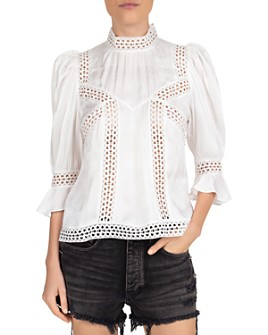 The Kooples - Coffy Jacquard Eyelet Top