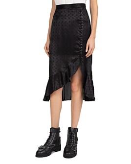 The Kooples - Delicate Paisley Asymmetric Midi Skirt