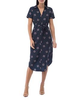 B Collection by Bobeau - Larson Scarf-Print Shirt Dress