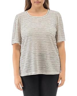 B Collection by Bobeau Curvy - Tilda Striped Puff-Sleeve T-Shirt