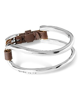 Uno de 50 - It's Electrifying Double Cuff & Leather Statement Bracelet