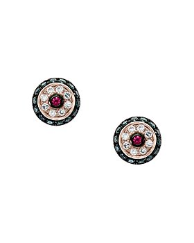 Bloomingdale's - Ruby & Blue & White Diamond Halo Stud Earrings in 14K Rose Gold - 100% Exclusive