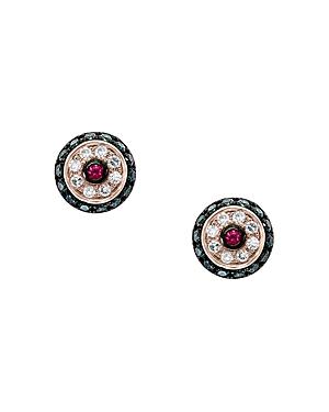Bloomingdale's Ruby & Blue & White Diamond Halo Stud Earrings in 14K Rose Gold - 100% Exclusive