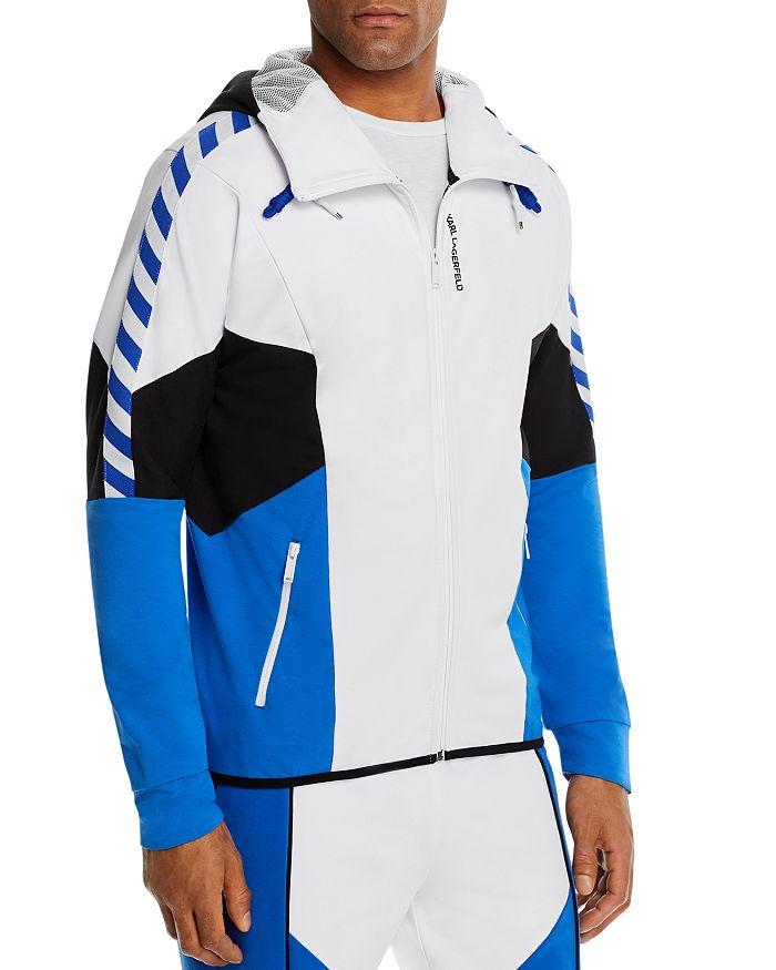 KARL LAGERFELD PARIS - Color-Blocked Slim Fit Full-Zip Hooded Track Jacket