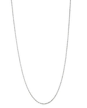 Solid Glitter Link Chain Necklace in 14K White Gold