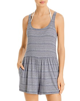 Splendid - Striped Romper Swim Cover-Up