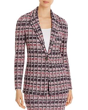 St. John Monarch Textured Tweed Knit Notch-Collar Jacket