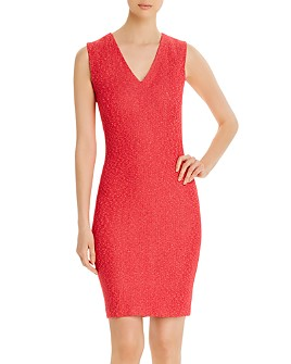 St. John - Refined Knit V-Neck Dress