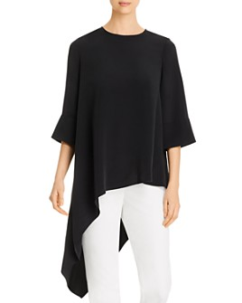 St. John - Silk-Blend Asymmetrical-Hem Top