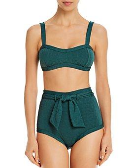 Peony - Textured Bikini Top & Belted High-Waist Bikini Bottom