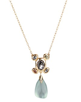 Alexis Bittar - Byzantine Lucite & Stone Cluster Drop Pendant Necklace, 16""