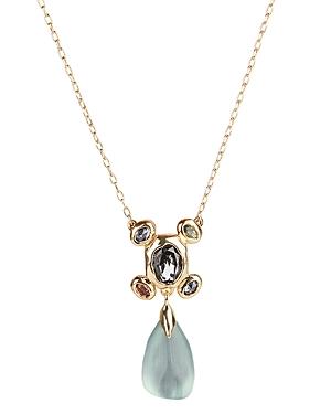 Byzantine Lucite & Stone Cluster Drop Pendant Necklace