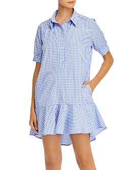 AQUA - Gingham Print Ruffled Mini Dress