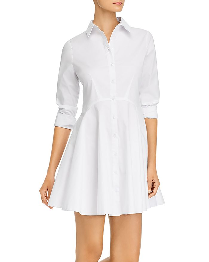AQUA - Long Sleeve Button Front Shirt Dress - 100% Exclusive