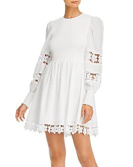 AQUA - Smocked Lace-Trim Mini Dress