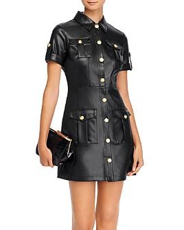 AQUA - Button-Front Faux-Leather Mini Dress