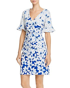 Adrianna Papell - Ruched Lily-Print Dress