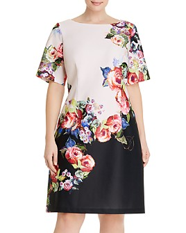 Adrianna Papell Plus - Rose-Printed A-Line Dress