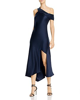 Cushnie - Asymmetrical-Neck Slip Dress with Cascading Skirt