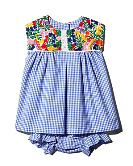 Mi Golondrina - Girls' Hand-Embroidered Gingham Dress & Bloomer Set - Baby, Little Kid