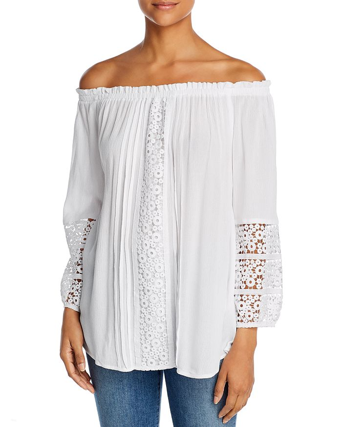 Alison Andrews Crocheted Off-the-shoulder Top In Brilliant White
