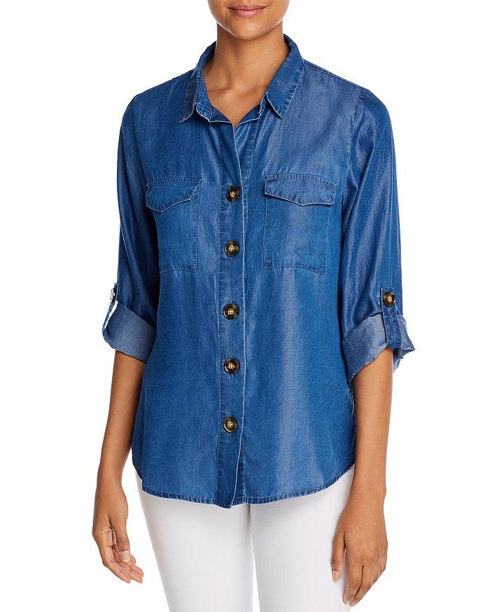 Alison Andrews Roll-tab Chambray Shirt In Medium Indigo
