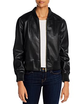 T Tahari - Faux Leather Bomber Jacket