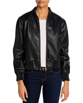 T Tahari - Faux Leather Bomber Jacket