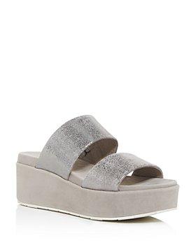 J/Slides - Women's Quincy Snake-Embossed Platform Slide Sandals