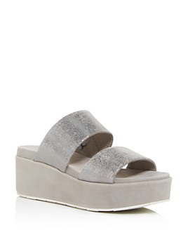 J/Slides - Women's Quincy Snake-Embossed Platform Slide Sandals