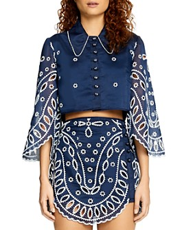 Alice McCall - Moonchild Cotton Bell-Sleeve Embellished Top