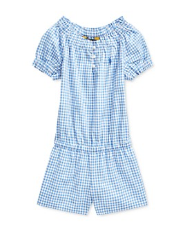 Ralph Lauren - Girls' Cotton Gingham Poplin Romper - Little Kid