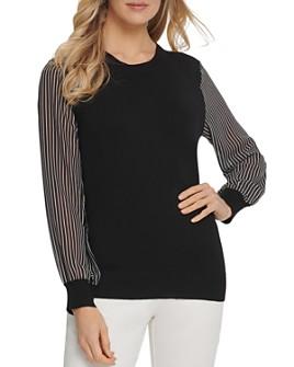 DKNY - Striped-Sleeve Sweater