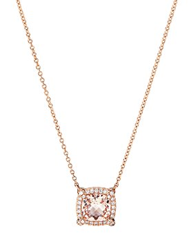 David Yurman - Petite Châtelaine® Pavé Bezel Pendant Necklace in 18K Rose Gold with Morganite, 18""
