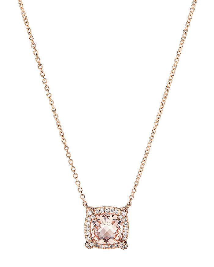 "David Yurman - Petite Châtelaine® Pavé Bezel Pendant Necklace in 18K Rose Gold with Morganite, 18"""