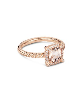 David Yurman - Petite Châtelaine® Pavé Bezel Ring in 18K Rose Gold with Morganite