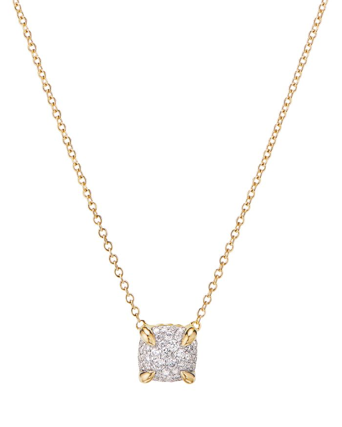"""David Yurman Châtelaine® Pendant Necklace in 18K Yellow Gold with Full Pavé Diamonds, 18""""  