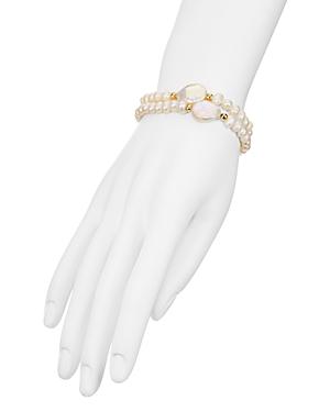 Aqua Simulated Pearl Stretch Bracelets, Set of 2 - 100% Exclusive