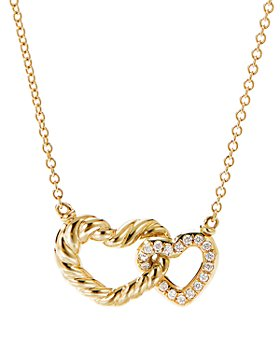 """David Yurman - Cable Double Heart Pendant Necklace with 18K Yellow Gold with Pavé Diamonds, 18"""""""