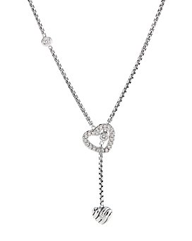 """David Yurman - Cable Collectibles Heart Y Necklace in Sterling Silver with Pavé Diamonds, 21"""""""