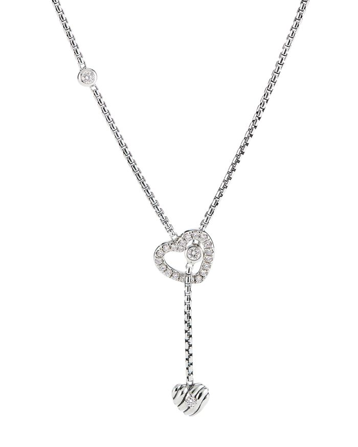 """David Yurman Cable Collectibles Heart Y Necklace in Sterling Silver with Pavé Diamonds, 21""""    Bloomingdale's"""