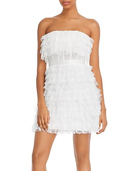 BCBGMAXAZRIA - Strapless Tiered Lace Dress