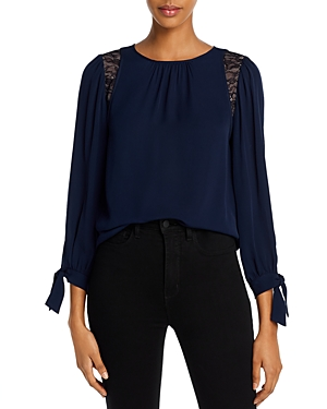 La Chemise Rebecca Taylor Silk & Lace Top-Women